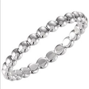 Stackable Beaded Silver Ring 7